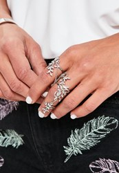 Missguided Silver Leaf Chain Ring