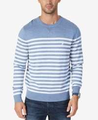 Nautica Men's Classic Fit Breton Striped Sweater Deep Anchor Heather