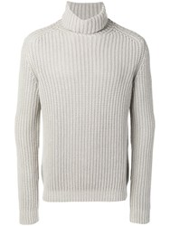 Iris Von Arnim Roll Neck Jumper Grey