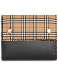 Burberry Small Scale Check And Leather Folding Wallet Black
