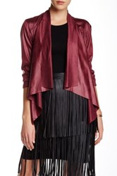 Insight Cracked Faux Leather And Suede Jacket Red