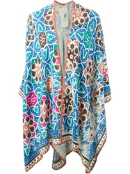 Friendly Hunting Printed Poncho Pink And Purple