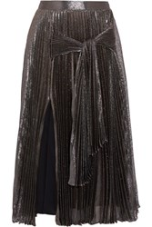 Christopher Kane Pleated Silk Blend Lame Midi Skirt Metallic
