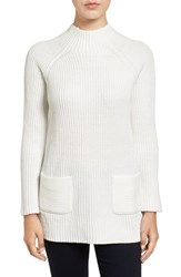 Chaus Women's Two Pocket Mock Neck Tunic Sweater Winter White