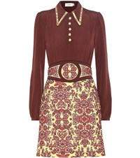 Coach Printed Wool Blend And Silk Crepe De Chine Dress Red