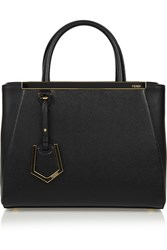Fendi 2Jours Small Textured Leather Tote Black