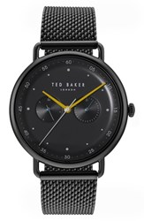 Ted Baker London Mesh Strap Watch 40Mm Black Black