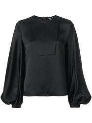 Giorgio Armani Puffy Longsleeves Blouse Women Silk 42 Black