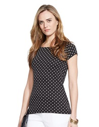 Lauren Ralph Lauren Polka Dot Ballet Neck Shirt Black White