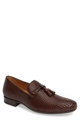 Mezlan Men's Turning Woven Tassel Loafer Brown Leather