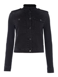 Replay Denim Jacket With Frayed Collar Black