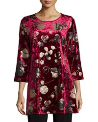 Caroline Rose 3 4 Sleeve Panne Velvet Tunic W Shimmer Women's Red