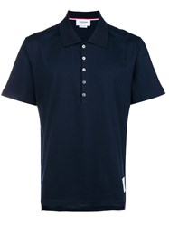 Thom Browne Button Polo Shirt Blue