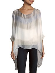 Saks Fifth Avenue Silk Tie Dye Poncho Taupe