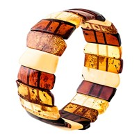 Be Jewelled Amber Stretch Cuff Cognac Multi