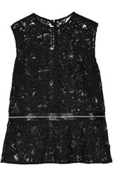 Mcq By Alexander Mcqueen Zip Detailed Guipure Lace Peplum Top Black