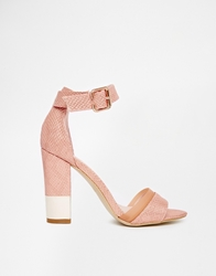 Paper Dolls Ankle Strap Block Heeled Sandals Nude