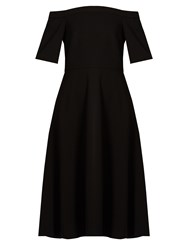 Tibi Off The Shoulder Stretch Crepe Dress Black