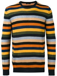 Roberto Collina Striped Crew Neck Jumper Men Cashmere 48 Black