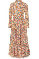 Stine Goya Judy Tiered Floral Print Silk Crepe De Chine Maxi Dress Yellow