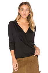 Bobi Light Weight Jersey Cross Front Top Black