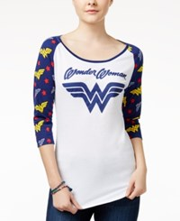 Bioworld Juniors' Warner Brothers Wonder Woman Graphic Raglan White