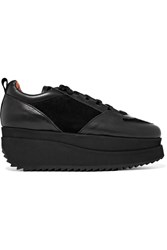Ganni Naomi Leather And Suede Platform Sneakers Black
