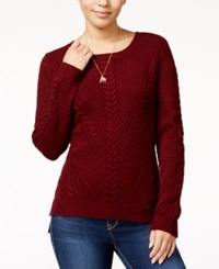 Hippie Rose Juniors' Cable Front Sweater Brandywine