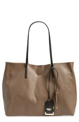 Poverty Flats By Rian 'Colorful' Faux Leather Shopper Brown Taupe