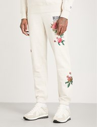 Billionaire Boys Club Floral Embroidered Cotton Jersey Jogging Bottoms Oat Marl