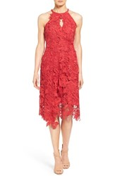 Kobi Halperin Women's 'Jade' Asymmetrical Hem Halter Style Lace Dress Crimson