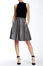 Gracia Pleated A Line Skirt Gray