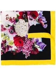 Dolce And Gabbana Classic Floral Square Scarf Black