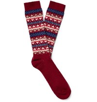 Anonymous Ism Fair Isle Jacquard Knit Socks Red