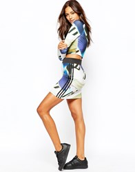 Adidas Mini Bodycon Skirt With 3 Stripes And All Over Shoe Chaos Print Multicolor