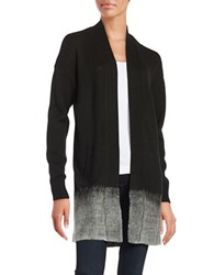 Lord And Taylor Ombre Trimmed Open Front Cardigan Black