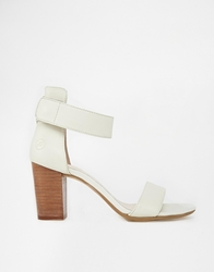Bronx Barely There Block Heeled Sandals Offwhiteleather