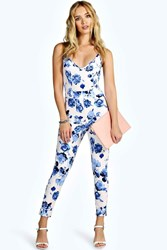 Boohoo Strappy Stretch Crepe Floral Jumpsuit Blue