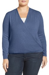 Nic Zoe Plus Size Women's '4 Way' Three Quarter Sleeve Convertible Cardigan Blue Opal