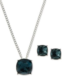 Givenchy Colored Crystal Pendant Necklace And Earrings Set Blue