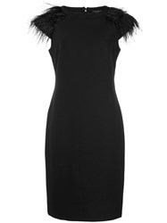 Alberto Makali Feather Sleeve Dress Black
