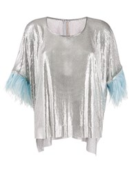 Christopher Kane Chain Mail Feather Trimmed Top 60