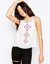 Brave Soul Sleeveless Vest Top With Embroidered Detail Whitedeepviolet