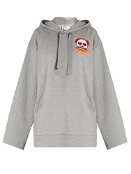 Acne Studios Florida Bears Hooded Cotton Sweatshirt Light Grey