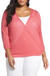 Nic Zoe Plus Size Women's '4 Way' Three Quarter Sleeve Convertible Cardigan French Rose