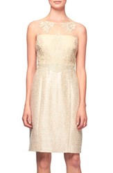 Women's Kay Unger Embroidered Tulle And Tweed Sheath Dress