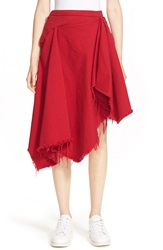 Marques Almeida Drape Front Denim Midi Skirt Red