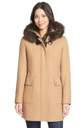 Women's Ellen Tracy Toggle Closure Hooded Duffle With Genuine Fox Fur Trim Camel