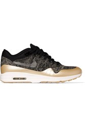 Nike Air Max 1 Ultra 2.0 Metallic Leather Trimmed Flyknit Sneakers Black