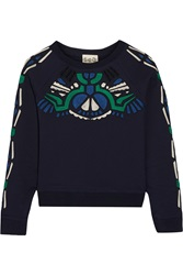 Sea Embroidered Cotton Jersey Sweatshirt Blue